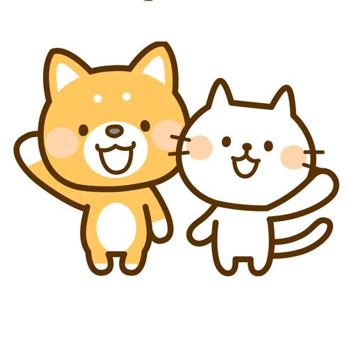 柴犬と猫のイラスト